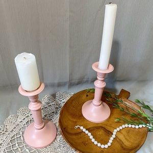 Upcycled 2PC Candlestick Holder Set in Rustic Pink